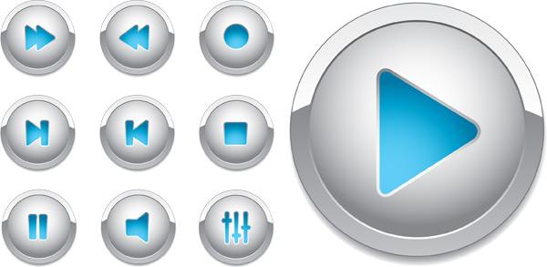 播放器立体按钮-各式图标矢量图库-名片之家