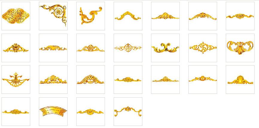 欧式金色花纹花边