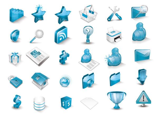 蓝色立体图标-各式图标矢量图库-名片之家