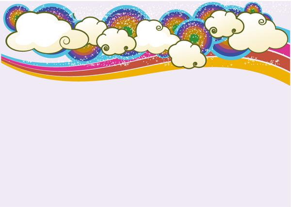 潮流云朵彩虹背景素材